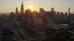 Aerial view Cloud Gate Millennium Park, Chicago, USA - stock footage