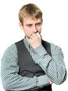 Pensive businessman on white Stock Photos