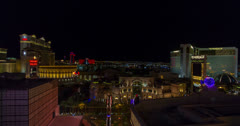 Stock Video Footage of 4K 30p wide Las Vegas by night time lapse Mirage Caesar's Palace