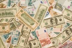 world currency - dollars, euros, russian roubles - stock photo