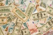 World currency - dollars, euros, russian roubles Stock Photos