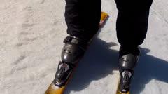 Skis fast on snow Stock Footage