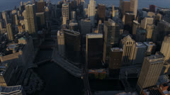 Aerial sunset view downtown Chicago River, Chicago, USA Stock Footage