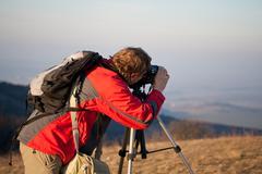 amateur landscape photographer - stock photo