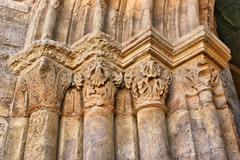 entrance capitals of santa clara velha - stock photo