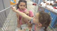 Children in supermarket Stock Footage