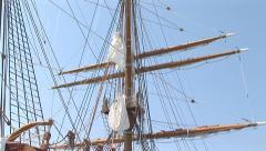 Mast of a Barkentine sailing vessel Stock Footage