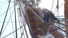 Rope ladder of a sailing ship Stock Footage