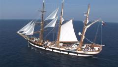 Aerial view of a sailing ship at sea Stock Footage