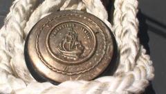 Mooring bollard on a ship Stock Footage