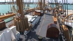 Deck of a barkentine sailing ship Stock Footage