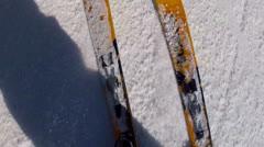 man spring skiing on mountain resort - stock footage
