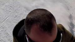 man spring skiing at resort - stock footage