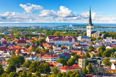 Aerial panorama of Tallinn, Estonia - stock photo