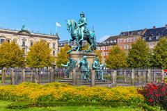 Christian V statue in Copenhagen, Denmark - stock photo