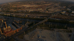 Aerial sunrise view of suburban Industrial buildings Chicago, USA Stock Footage