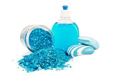 soap blue different with bath salts in the jar - stock photo
