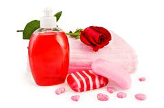 soap different with towel and rose - stock photo