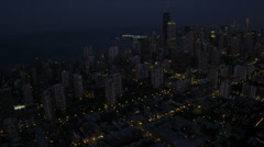 Aerial Cityscape Illuminated Chicago Skyscrapers, USA Stock Footage