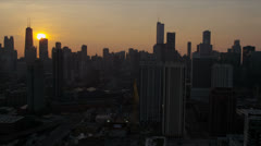 Aerial auringonnousun näkymä Chicago Financial District, USA Arkistovideo