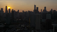Stock Video Footage of Aerial sunrise view Chicago Financial District, USA