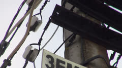 Lamppost with wires Stock Footage