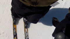 shot of skiing down hill - stock footage