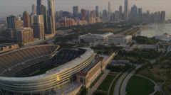 Aerial view Chicago Bears Football Stadium, Chicago, USA Stock Footage