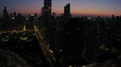 Aerial Sunset Cloud Gate, Millennium Park Chicago, USA Stock Footage