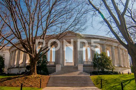 Stock photo of view  of the memorial amphitheater at arlington cemetery