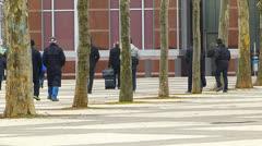 Visitors Businessman walking Messe Frankfurt Exhibition Show Frankfurt Germany - stock footage