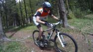 Stock Video Footage of Mountainbiker in forest