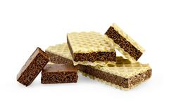 Wafers with two slices of porous chocolate Stock Photos