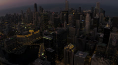 Aerial Illuminated City Sunset Skyscrapers Chicago, USA Stock Footage