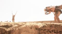 Gladiator roman man spartan soldiier Stock Footage