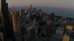 Aerial view of Willis Tower high elevation Chicago, USA - stock footage