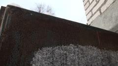 Frozen iron door, frost Stock Footage