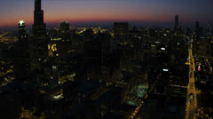 Aerial Sunset Downtown Skyscrapers Willis Tower, Chicago - stock footage