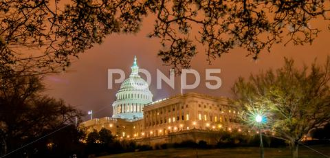 Stock photo of us capitol building in spring- washington dc, united states