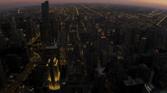 Aerial Sunset View Sears Tower, Chicago, USA Stock Footage