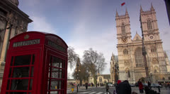 Red telephone box outside Westminster Abbey. Stock Footage