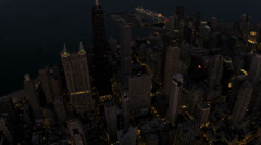 Aerial Sunset View John Hancock Building Downtown Chicago, USA Stock Footage