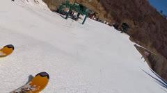 skiing toward lift - stock footage