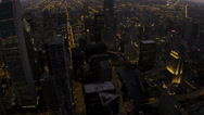 Aerial Illuminated Sunset View Downtown Skyscrapers Chicago, USA Stock Footage