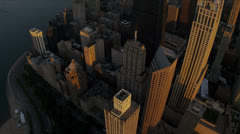 Aerial vertical sunset view Lake Shore Drive, Chicago, Illinois - stock footage