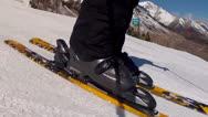 Man skiing across snow Stock Footage