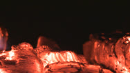 Stock Video Footage of Zoom in red embers in the fireplace