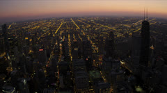 Aerial Sunset Downtown Skyscrapers, Suburbs, Chicago, USA - stock footage