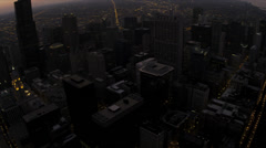 Aerial sunset illuminated, view Sears Tower skyscrapers, Chicago, USA Stock Footage