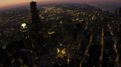 Aerial sunset illuminated view Willis Tower, Chicago, USA - stock footage